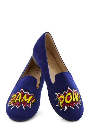 On and Onomatopoeia Flat - Flat, Faux Leather, Blue, Multi, Quirky, Good, Menswear Inspired, Novelty Print, Casual, Nifty Nerd
