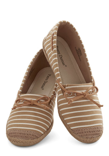 And One for Allspice Flat - Flat, Woven, Tan, Stripes, Casual, Good, Nautical