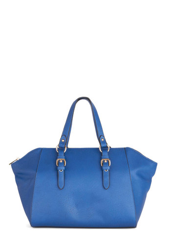 Do it Bright Bag - Blue, Solid, Buckles, Work, Better, Faux Leather, Minimal, Press Placement