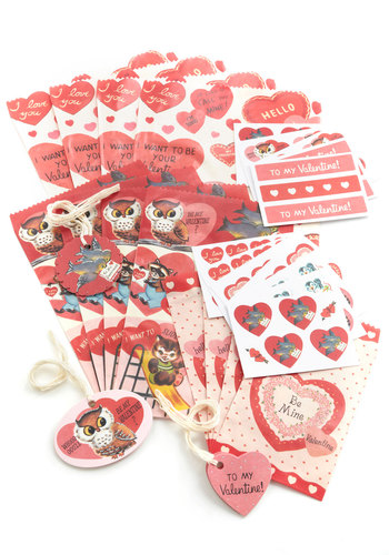Petite Parcels Gift Bag Set by Cavallini & Co. - Valentine's, Red, Pink, Print with Animals, Handmade & DIY