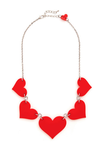 To Her with Love Necklace - Red, Solid, Silver, Better, Valentine's, Statement