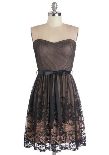 Engaged to Be Merry Dress - Short, Knit, Tan / Cream, Lace, Belted, A-line, Strapless, Good, Sweetheart, Black, Scallops, Party, Lace, Homecoming, Prom