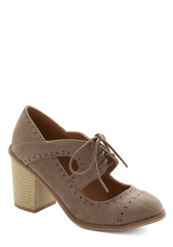 Conventional Winsome Heel in Taupe - Mid, Faux Leather, Brown, Solid, Cutout, Work, Menswear Inspired, Good, Lace Up, Vintage Inspired, Variation