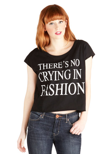 A Lede of Their Own Tee - Cotton, Knit, Short, Better, Black, Sleeveless, Black, Casual, Vintage Inspired, 90s, Sayings, Cropped, White, Novelty Print, Cap Sleeves, Scoop, Spring, Summer, Good