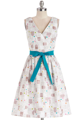 In the Key of Chic Dress in Tea Time by Bea & Dot - Private Label, Cotton, Woven, Novelty Print, Belted, Casual, A-line, Sleeveless, Better, V Neck, Pockets, Exclusives, Multi, Blue, Tan / Cream, White, Show On Featured Sale, Mid-length