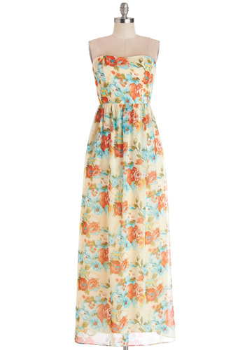 On the Dance Fleur Dress - Woven, Long, Multi, Floral, Daytime Party, Maxi, Strapless, Better, Sweetheart, Beach/Resort, Spring, Summer