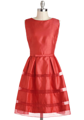 Dinner Party Darling Dress in Poppy - Solid, Bows, Prom, Wedding, A-line, Sleeveless, Better, Scoop, Woven, Mid-length, Red, Party, Bridesmaid, Vintage Inspired, 50s, 60s, Variation