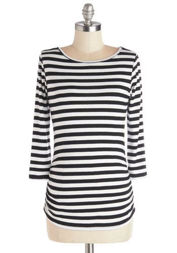Posh Patisserie Top - Jersey, Knit, Mid-length, Multi, Stripes, Ruching, Casual, Nautical, French / Victorian, 3/4 Sleeve, Good, Scoop, Multi, 3/4 Sleeve, Black, White