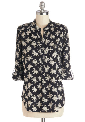 Dried Flower Decorator Top - Woven, Mid-length, Black, Buttons, Work, Good, Black, Tab Sleeve, Floral, Casual, 3/4 Sleeve