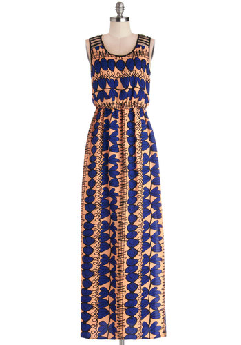 Work and Plane Dress - Long, Woven, Blue, Print, Cutout, Casual, Maxi, Sleeveless, Scoop, Tan / Cream, Beach/Resort, Summer