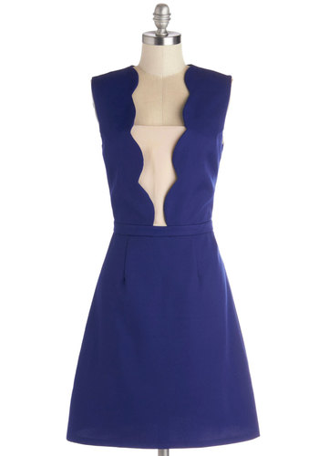 Empire State of the Art Dress - Mid-length, Woven, Blue, White, Scallops, Party, A-line, Sleeveless, Better