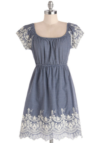 Bliss Must Be the Place Dress - Cotton, Woven, Short, Blue, White, Polka Dots, Cutout, Embroidery, Casual, A-line, Better, Scallops, Cap Sleeves