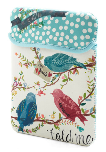 Fly Through Work Tablet Case by Disaster Designs - Multi, Print with Animals, Travel, Darling, International Designer, Blue, Tan / Cream, Polka Dots, Critters, Top Rated, Bird, Woodland Creature
