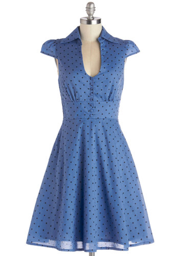 Surprise Sunset Dress in Dots - Cotton, Woven, Long, Blue, Black, Polka Dots, Buttons, Pockets, Casual, A-line, Cap Sleeves, Better, V Neck, Collared