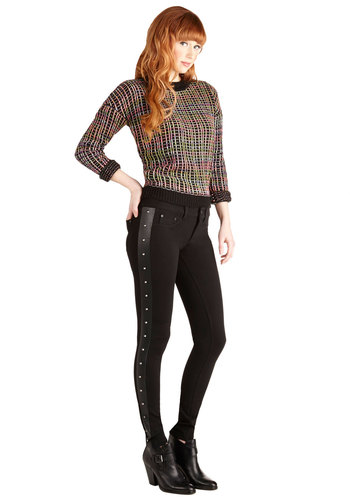 Little Five Points Taken Pants - Skinny, Better, Low-Rise, Full length, Black, Knit, Black, Solid, Pockets, Studs, Girls Night Out, Vintage Inspired, 90s, Urban, Long, 80s
