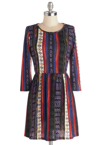 Reverbs and Adjectives Dress - Knit, Short, Multi, Print, Casual, A-line, Long Sleeve, Good, Scoop