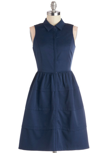 Destination Detour Dress - Woven, Mid-length, Blue, Solid, Buttons, Casual, Shirt Dress, Sleeveless, Good, Collared