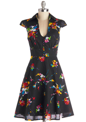 Surprise Sunset Dress in Tropical - Cotton, Woven, Long, Black, Multi, Floral, Buttons, Pockets, Casual, A-line, Cap Sleeves, Better, Vintage Inspired, 40s, 50s, Variation, Collared