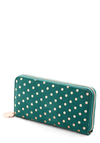 In Good Fund Wallet - Faux Leather, Polka Dots, Green, Blue, Bronze