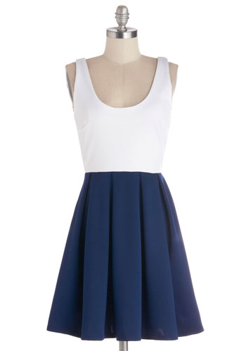 Casually Captivating Dress - Mid-length, Knit, Blue, White, Exposed zipper, Pleats, Party, A-line, Tank top (2 thick straps), Good, Scoop