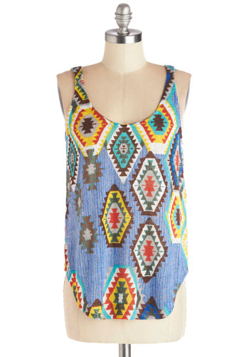 Sunny Stories Tank - Sheer, Knit, Multi, Novelty Print, Casual, Rustic, Sleeveless, Good, Scoop, Multi, Sleeveless, Festival, Summer, Mid-length, Boho