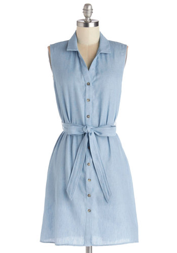 I'm So Gladsome Dress - Cotton, Denim, Woven, Mid-length, Blue, Solid, Buttons, Belted, Casual, Shirt Dress, Sleeveless, Good, Collared
