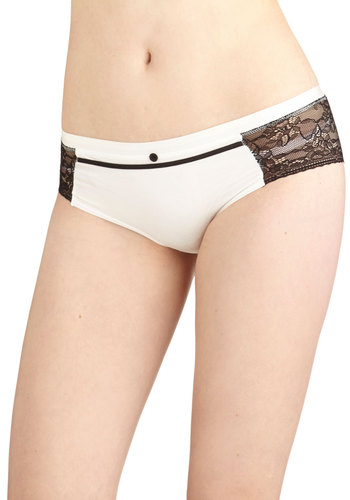 Trimmed and Proper Undies - Black, Solid, Buttons, Lace, Trim, Colorblocking, Knit, Sheer, White, Lace