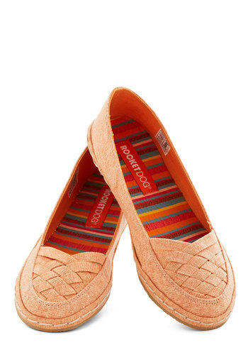 Melon Mélange Flat - Flat, Woven, Orange, Solid, Casual, Good, Woven