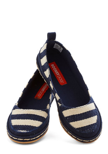 Walk Around the Dock Flat in Stripes - Flat, Woven, Blue, Stripes, Beach/Resort, Nautical, Good, Tan / Cream, Casual