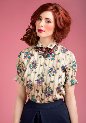 blouse, floral, pretty, sexy, cute, vintage, ginger, plaid, layering, style, fashion, shopping, trend, buttons, redhead, curls, beauty, lipstick, 2013, 2014