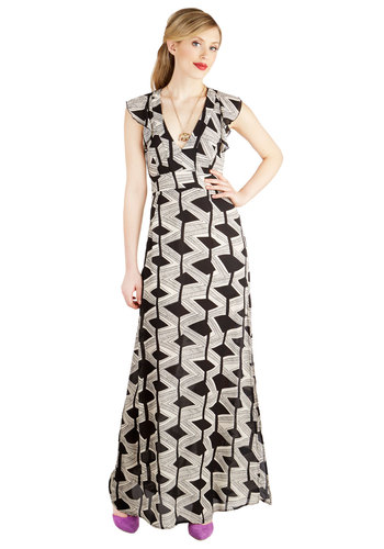 On the Scottsdale Scene Dress - Sheer, Woven, Long, Black, White, Print, Ruffles, Casual, Maxi, Sleeveless, Better, V Neck