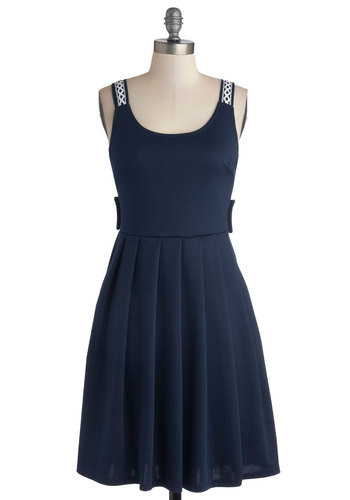 Crisscross Country Trip Dress in Navy - Mid-length, Knit, Blue, Solid, Cutout, Pleats, Casual, A-line, Better, Scoop, White, Pockets, Travel, Tank top (2 thick straps), Jersey