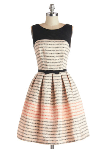 Promoting Elegance Dress in Bubbles - Black, Stripes, Bows, Pleats, A-line, Sleeveless, Better, Scoop, Sheer, Knit, Woven, Mid-length, Pink, Tan / Cream, Cutout, Pockets, Party, Variation, Valentine's, Spring