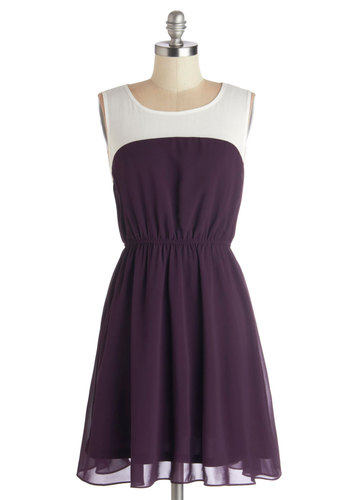 Grape Things Ahead Dress - Purple, Casual, A-line, Sleeveless, Good, Scoop, Sheer, Woven, White, Colorblocking