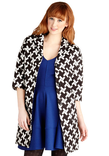 Pattern Prowess Coat by Tulle Clothing - Print, Buttons, Pockets, Better, Knit, Long, Vintage Inspired, 60s, 3/4 Sleeve, Black, 3/4 Sleeve, Black, White, Mod, 1, Winter, Beach/Resort