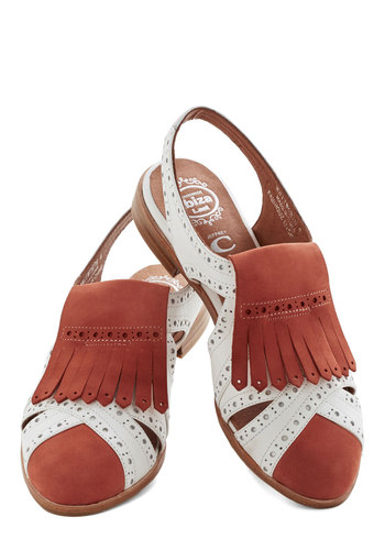 That's What Fringe Is For Flat by Jeffrey Campbell - Low, Leather, Solid, Cutout, Fringed, Daytime Party, Menswear Inspired, Good, Best, Slingback, Orange, White