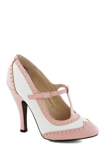 Speakeasy Does It Heel in Blush - High, Faux Leather, Pink, Solid, Wedding, Party, Daytime Party, Vintage Inspired, Pastel, Better, T-Strap, White, 20s, Variation