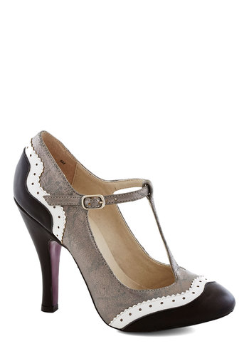 Living the Gleam Heel - High, Leather, White, Solid, Prom, Party, Cocktail, Vintage Inspired, Better, T-Strap, Black, Silver, 20s