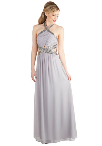 Dancing in the Swoon-light Dress - Chiffon, Woven, Long, Silver, Solid, Cutout, Sequins, Special Occasion, Prom, Bridesmaid, Maxi, Halter, Better, Wedding
