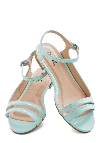 Cool Down Sandal - Low, Faux Leather, Solid, Beach/Resort, Pastel, Good, Strappy, Blue