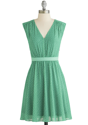 Herb Garden Party Dress in Mint - Green, White, Casual, A-line, Sleeveless, Good, V Neck, Woven, Mid-length, Novelty Print, Spring