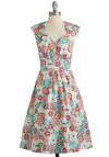 Room for Blooms Dress - Multi, Floral, Pockets, Daytime Party, A-line, Cap Sleeves, Better, Sweetheart, Cotton, Woven, Long, Graduation, Spring, Summer