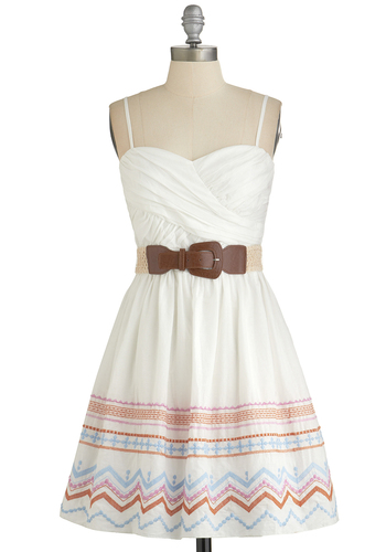 Festival Favorite Dress - White, Multi, Belted, Casual, Festival, Spaghetti Straps, Better, Sweetheart, Embroidery, A-line, Sundress, Cotton, Woven