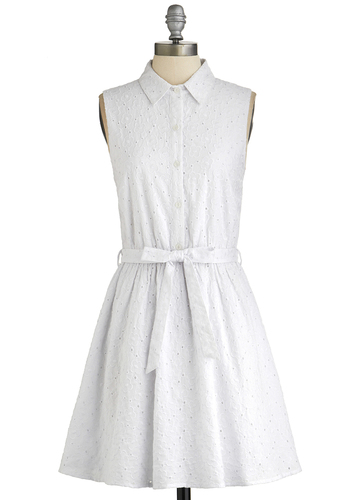 Fresh Field of Daisies Dress - White, Solid, Buttons, Eyelet, Belted, Casual, Shirt Dress, Sleeveless, Good, Collared, Woven, Short, Cotton