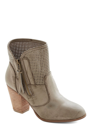 For Better or For Perf Boot - Mid, Faux Leather, Grey, Solid, Cutout, Exposed zipper, Better