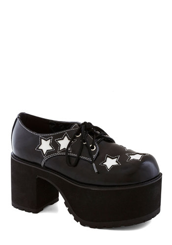 Block Star Heel - Mid, Leather, Black, White, Statement, Better, Platform, Lace Up, Novelty Print, Chunky heel, Vintage Inspired, 90s