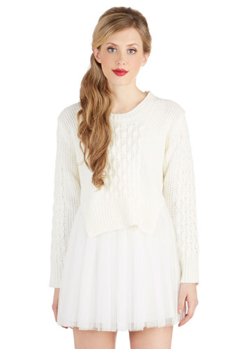 Let's Get Cosmopolitan Dress Set - Sheer, Knit, Short, Woven, White, Solid, Casual, A-line, Long Sleeve, Better, Crew