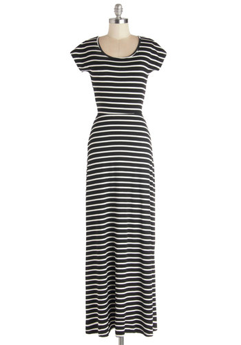 Barefoot on the Beach Dress - Jersey, Knit, Long, Black, White, Stripes, Ruching, Casual, Maxi, Cap Sleeves, Good, Scoop, Cutout, Beach/Resort, Cover-up