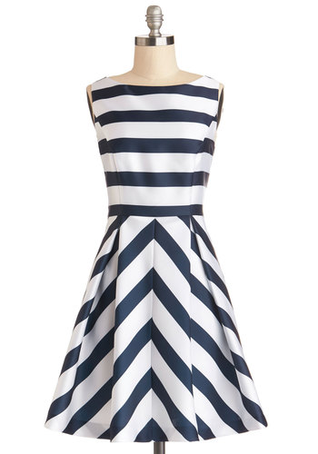Flight Stripes Dress - Woven, Mid-length, Blue, White, Stripes, Pleats, Pockets, Party, A-line, Sleeveless, Better, Boat, Nautical