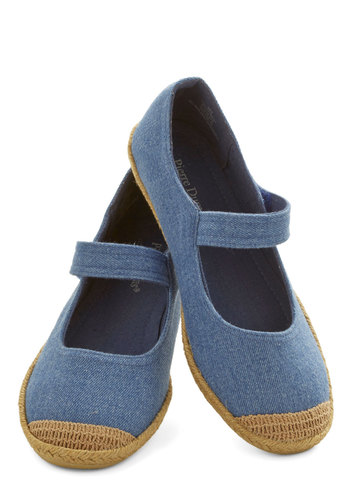Tour de Prance Flat - Flat, Denim, Woven, Blue, Tan / Cream, Solid, Casual, Good